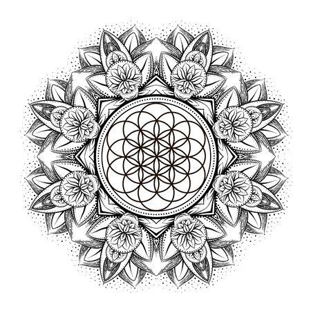 vector gold monochrome design abstract mandala sacred geometry illustration Flower of life Merkaba lotus isolated dark brown background