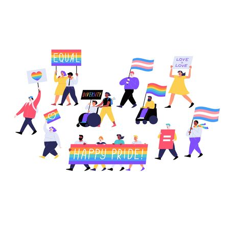 Different people marching on the pride parade holding placards and flags. Pride month concept