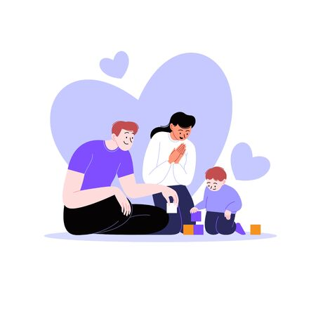 Flat illustration of a family. Mother and father playing with a toddler. Hearts on the background 向量圖像
