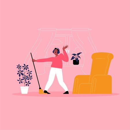 A person dancing with a mop while cleaning their home. Illustration