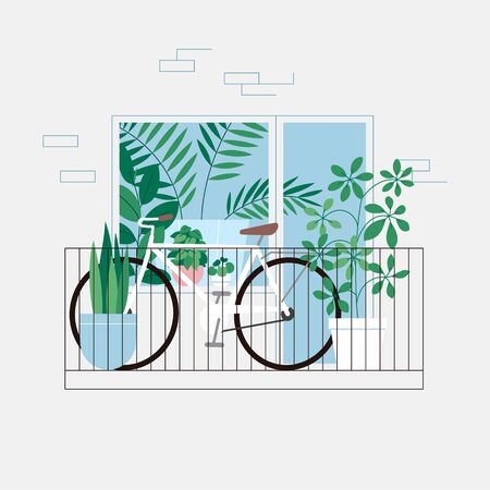 Bicycle and houseplants on the balcony. Room full of plants, view through the window. Urban jungle concept