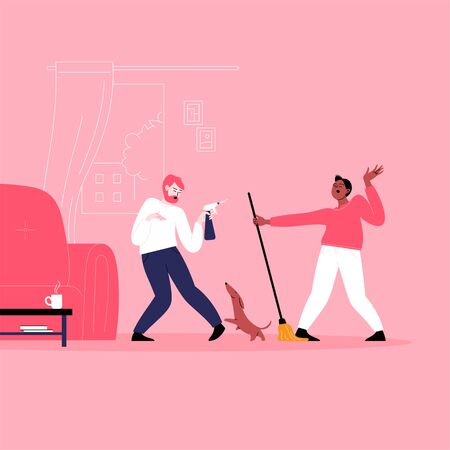 Flat illustration of two men dancing while cleaning their home. Dancing with a pet, holding a mop, having fun at home