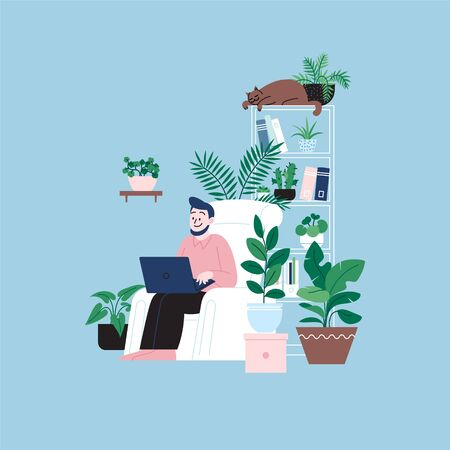 A man staying home working on the laptop sitting in the chair. A room full of plants. Illustration