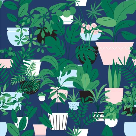 Seamles pattern of different houseplants