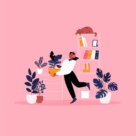 Flat illustration of a woman whearing earphones dancing with a houseplant