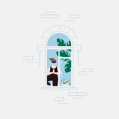 Flat illustration of a girl with a ponytail in the room practicing yoga tree pose, staying home for the quarantine. Facade of an apartment house, window Illustration