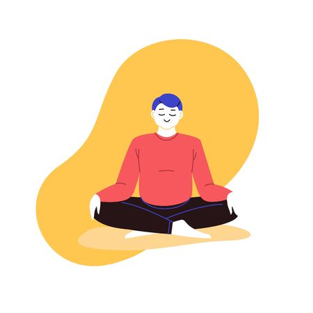 Flat and line illustration of a person practicing yoga with an abstract geometric background. Lotus pose