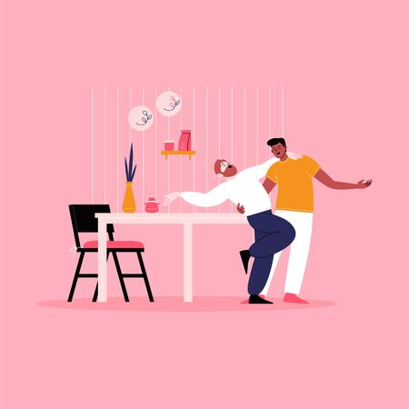 Young gay couple dancing at the kitchen. Pride month at home concept