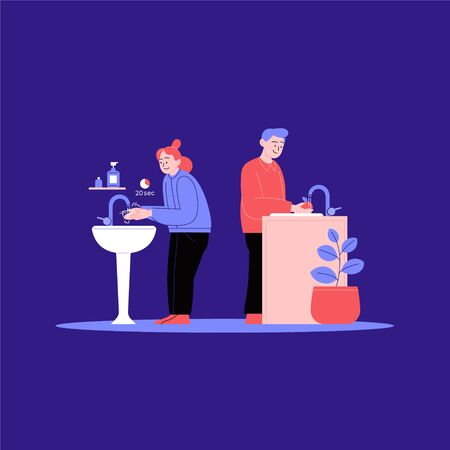 A woman washing hands in the bathroom. A man washing a fruit or a vegetable in the kitchen. Covid-19 hygene instruction.
