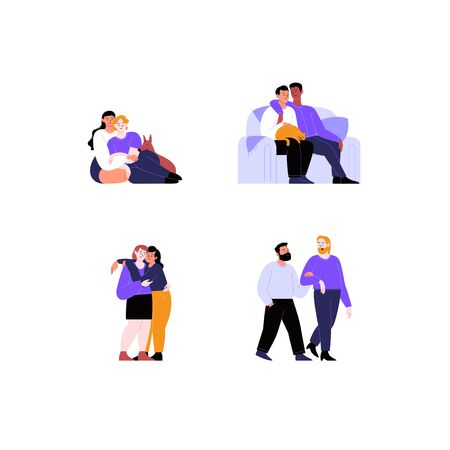 Collection of flat illustrations of different queer couples and families with and without kids. Pride month concept