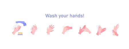 Illustrated step by step instruction how to wash your hands properly. Covid-19 hands hygene instruction. Ilustración de vector