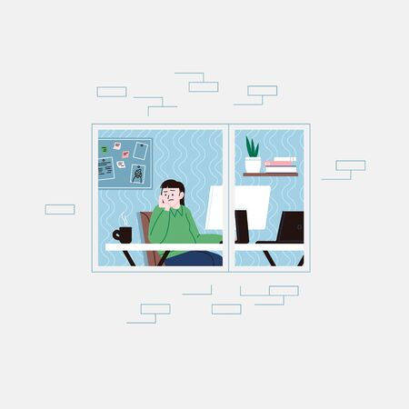 Flat illustration of a sad and lonely woman working from home, staying home for the quarantine. Facade of an apartment house, window