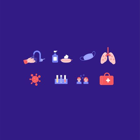 Set of coronavirus-related icons. Washing hands, facemask, lungs, virus, first aid kit, tests Banco de Imagens - 150189319