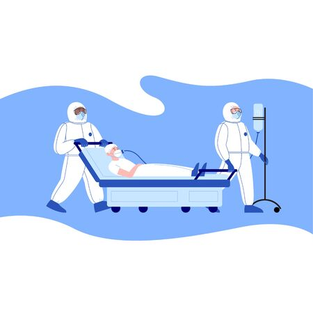 Professional doctors wearing covid-19 protection suit transporting the patient with an oxygen mask at the hospital. Virus outbreak concept