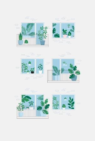 Houseplants on the balcony. Room full of plants, view through the door. Urban jungle concept. Apartment house facade Illustration