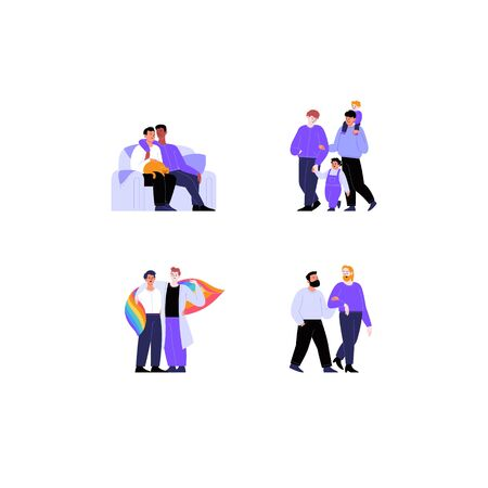 Collection of flat illustrations of different gay couples and families with and without kids. Pride month concept