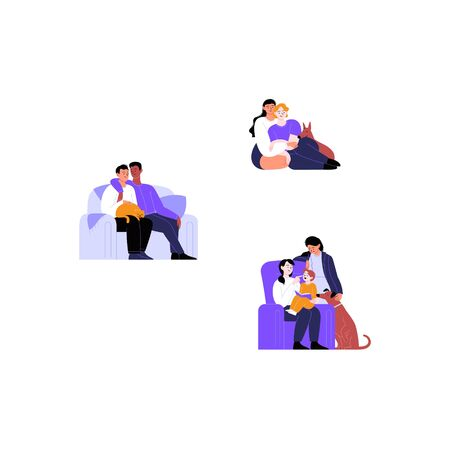 Collection of flat illustrations of different couples and families with pets. Cats and dogs with their families. Pride month concept 向量圖像