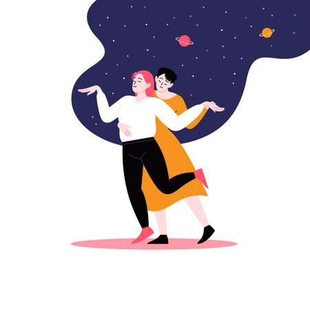 Young couple dancing under the starry night sky. Pride month at home concept