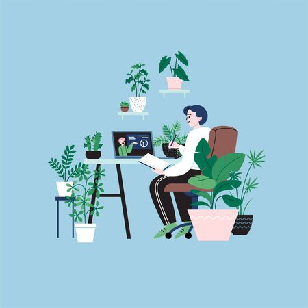 A woman staying home learning online watching video course. A room full of plants. Illustration