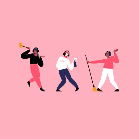 Flat illustration of people whearing earphones dancing while cleaning. Dancing with a mop, holding a brush