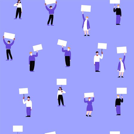Seamless pattern. A group of activists wearing face masks protesting with blank cardboards. Different people on a working strike holding posters. Pandemic protest concept. Flat vector illustration