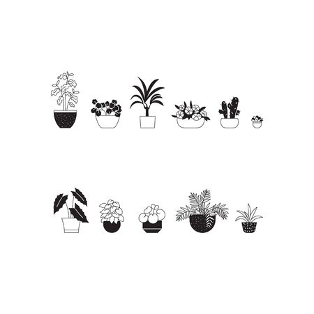 Set of one color line illustrations of different houseplants