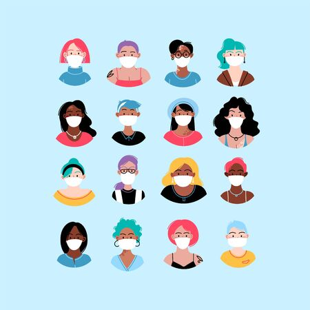Female diverse faces of different ethnicity, different skin and different bodies, wearing medical face mask. Pandemic concept 일러스트