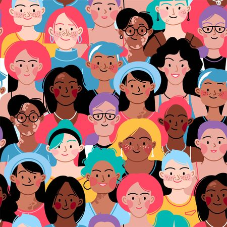 Seamless pattern. Female diverse faces of different ethnicity, different skin and different bodies