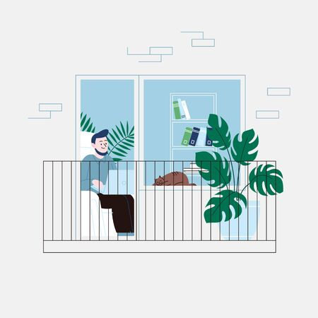 Flat illustration of a man with a beard staying home for the quarantine, working on a laptop in the living room, sitting in the chair. Facade of an apartment house balcony door. Vettoriali