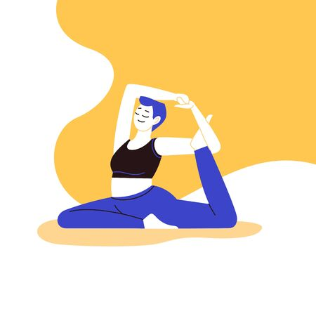 Flat and line illustration of a person practicing pigeon yoga asana with an abstract background.