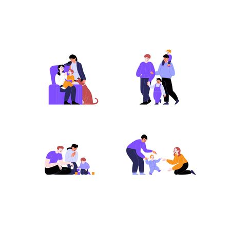 Collection of flat illustrations of different couples and families with and without kids. Pride month concept 일러스트