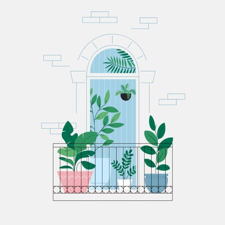 Houseplants on the balcony. Room full of plants, view through the door. Urban jungle concept