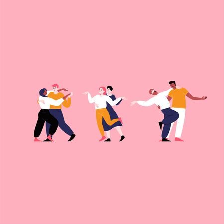 Three different couples dancing. Set of iflat illustrations