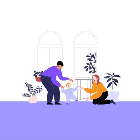 Flat illustration of a queer family with kid and pets. Two mothers teaching their child to walk at home. Pride month concept