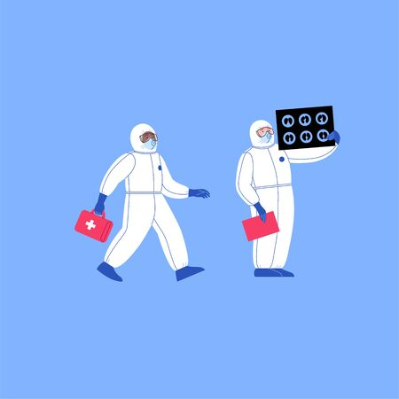 Professional doctor wearing covid-19 protection suit looking at lungs ct scan and doctor running hlding the first aid kit. Virus outbreak concept Illustration