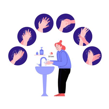 Illustrated step by step instruction how to wash your hands properly. Covid-19 hands hygene instruction. A woman washing hands Ilustración de vector