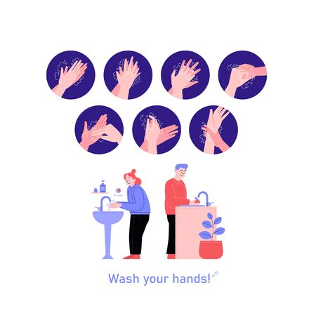 Illustrated step by step instruction how to wash your hands properly. Covid-19 hands hygene instruction. A woman washing hands