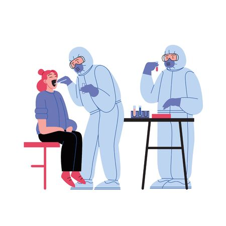 Flat illustration of two medical doctors wearing covid-19 protection suit running tests and treating patient at the medical office
