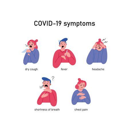 Flat illustrations of Covid-19 symptoms Ilustración de vector