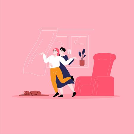 Young lesbian couple dancing in the living room. Pride month at home concept Illustration