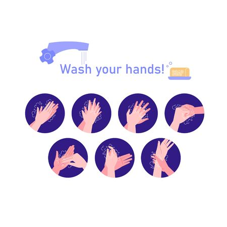 Illustrated step by step instruction how to wash your hands properly. Covid-19 hands hygene instruction.