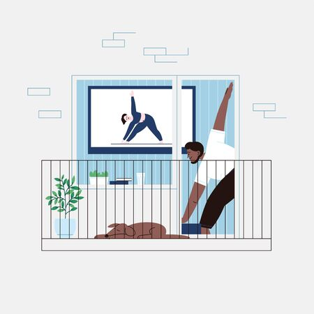 Flat illustration of a man with a beard staying home for the quarantine practicing yoga with a video lesson. Facade of an apartment house balcony door.