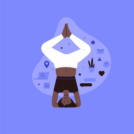Flat and line illustration of a person practicing yoga with lifestyle icons on the backround Stock Illustratie