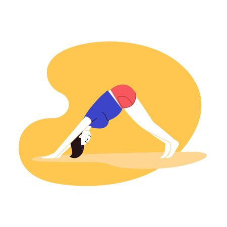 Flat and line illustration of a person practicing yoga with an abstract geometric background. Downward facing dog