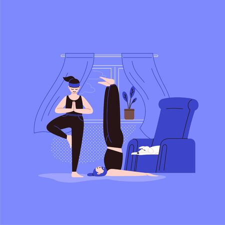 Flat and line character illustration of a person practicing yoga with a home interior on the background. Staying home on the quarantine