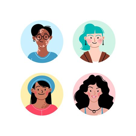 Female diverse faces of different ethnicity, different skin and different bodies