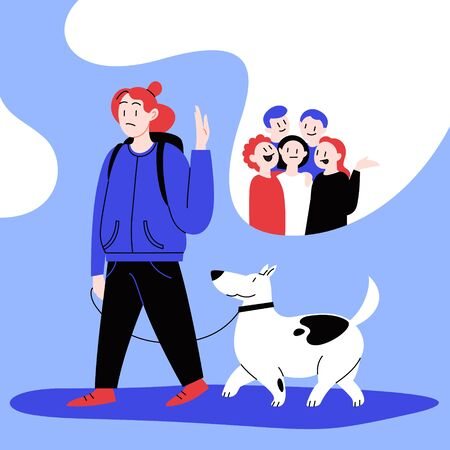 Flat illustration of a woman walking with a dog deciding to avoid crowded place. Covid-19 prevention. Ilustración de vector