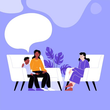 A woman and her son attending a therapy session with a female mental specialist. Family psychotherapy session. Conversation with a psychologist. Speech bubbles Vector Illustration