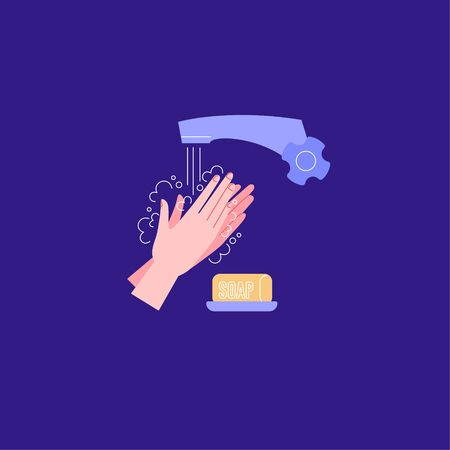 How to wash hands properly. Palms Ilustración de vector