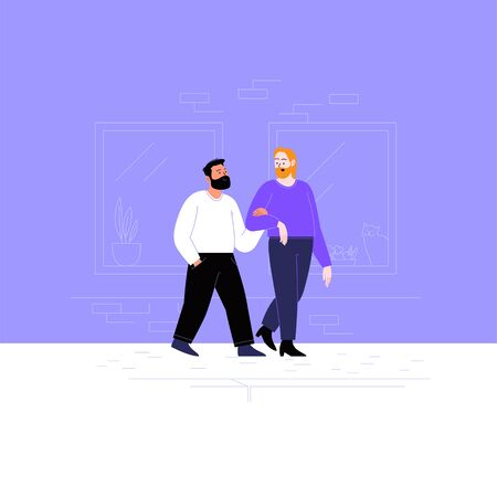 Flat illustration of two queer guys. A gay couple walking down the street with their children. Pride month concept